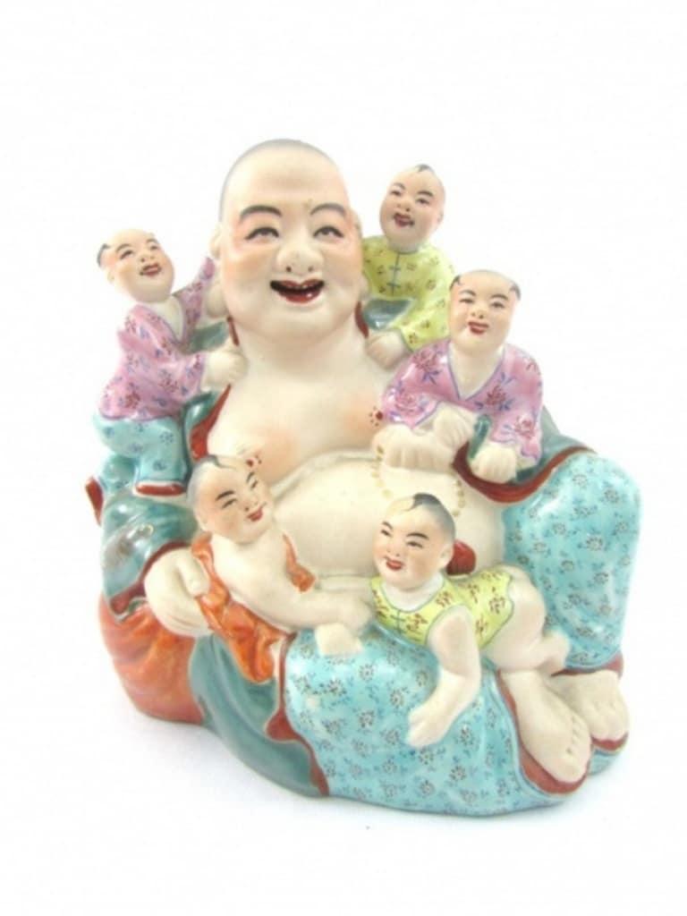 Belo Grupo Escultórico Em Porcelana Chinesa